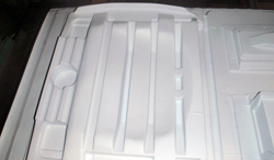 thermoformed plastic formed refrigerator liner